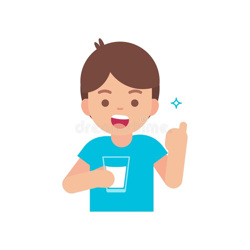Happy cute boy drinking milk, holding glass of milk concept, vector flat illustration. stock illustration