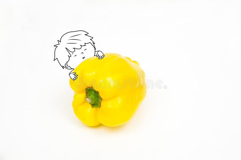 Happy cute boy embracing a yellow big pepper isolated on white stock illustration
