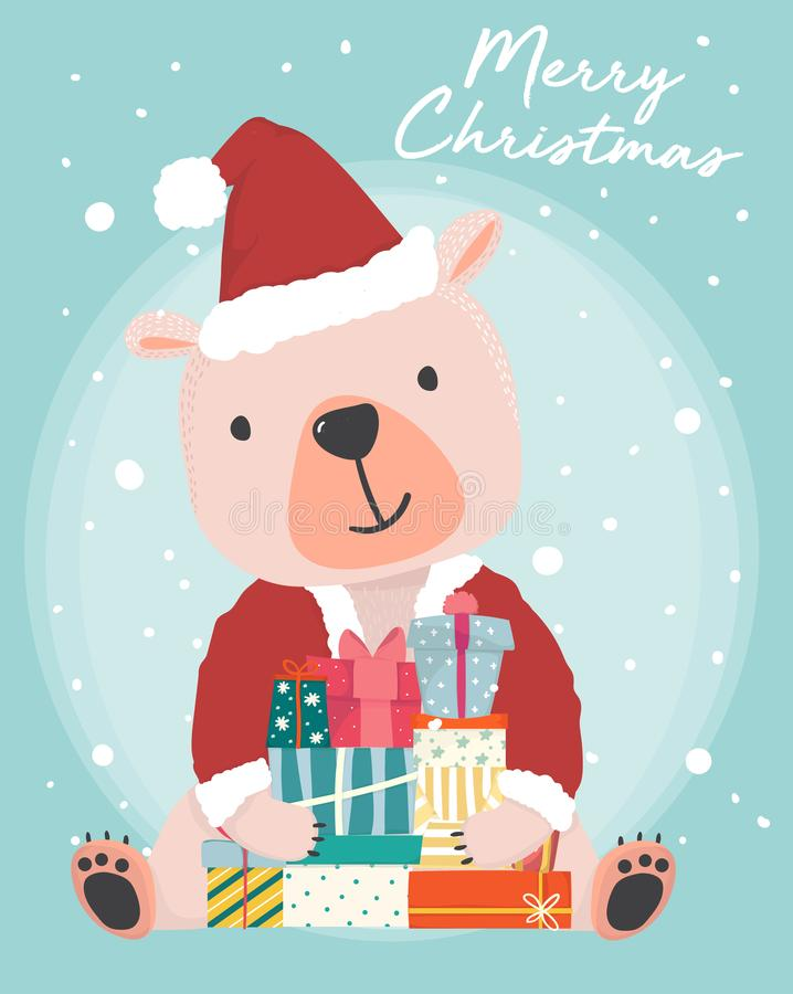 Happy cute brown bear wear Santa Claus outfit holding present gift boxes with snow falling in background royalty free illustration