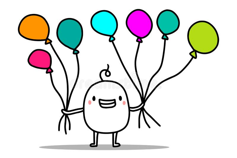 Happy cute cartoon man holding colorful air balloons. Vector happy birthday card vector illustration