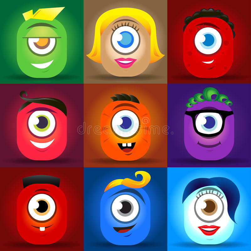 Happy cute cartoon monster faces vector set. cute square avatars and icons royalty free illustration
