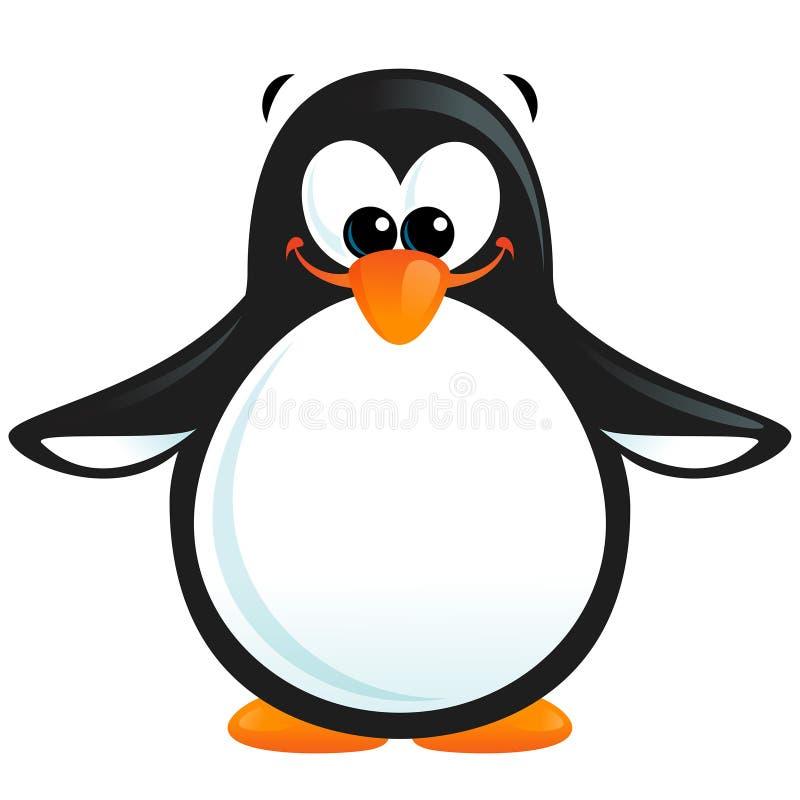 Happy cute cartoon smiling black white penguin with orange beak. Cartoon funny whimsical illustration of a black and white smiling penguin with orange beak and stock illustration