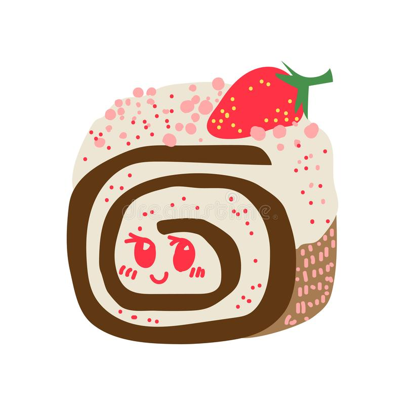 Happy Cute Delicious Roll Cake Cartoon Character, Adorable Kawaii Dessert Vector Illustration stock illustration