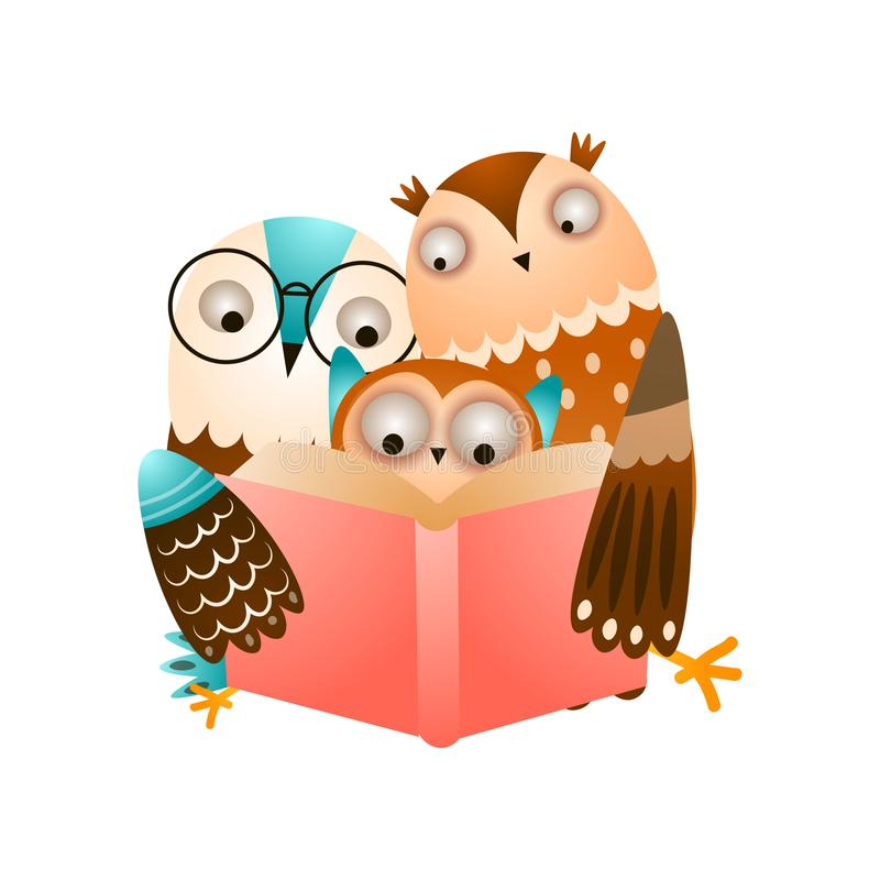 Happy cute family of owl reading a red book vector illustration