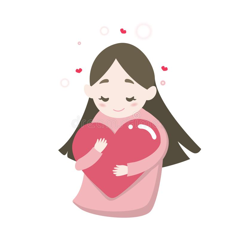Happy cute girl`s hugging heart with love feeling, vector cartoon illustration royalty free illustration
