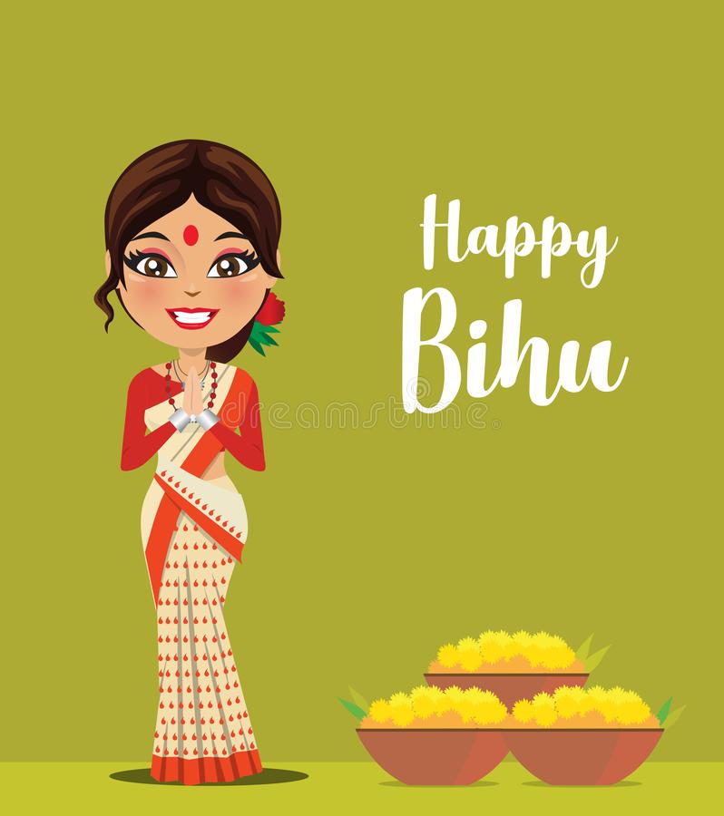 A happy and cute Indian woman wearing a traditional saree from the state of Assam in North East India celebrating festival- Vector. A happy and cute Indian woman stock illustration
