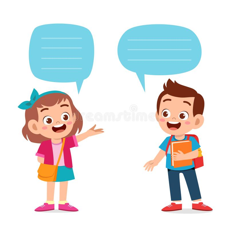 Free Happy Cute Kid Boy And Girl Dialog Royalty Free Stock Images - 163533009