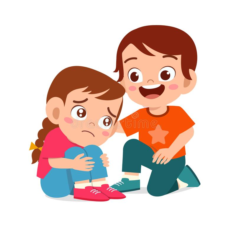 Free Happy Cute Kid Boy Comfort Crying Friend Stock Photo - 167743240