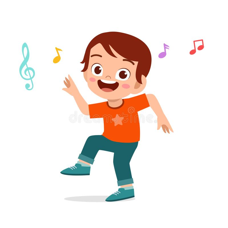 Free Happy Cute Kid Boy Dance With Music Stock Image - 166494881