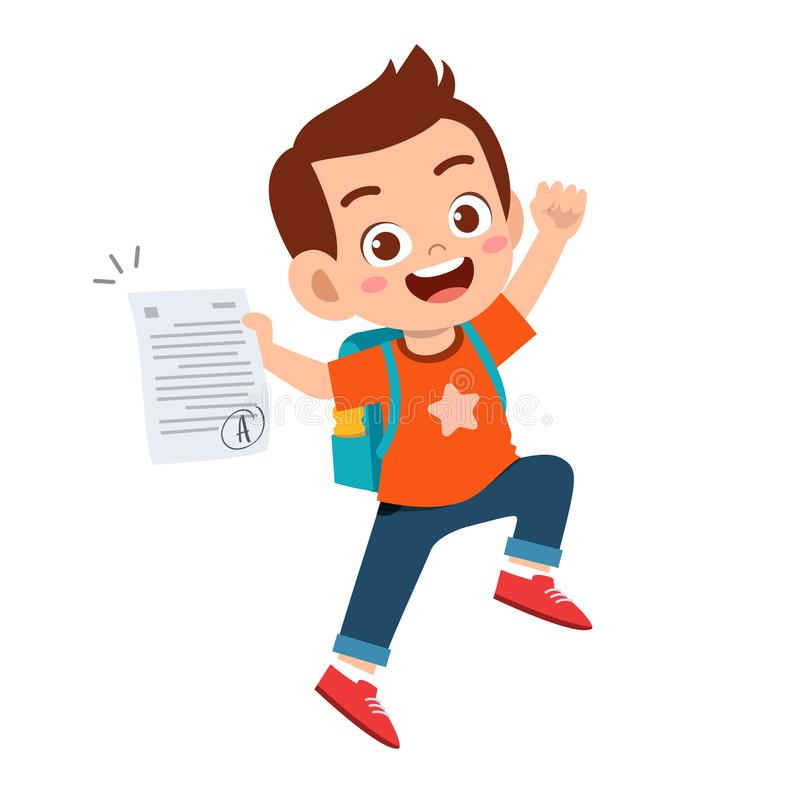 Free Happy Cute Kid Boy Have Good Exam Mark Royalty Free Stock Images - 160885849