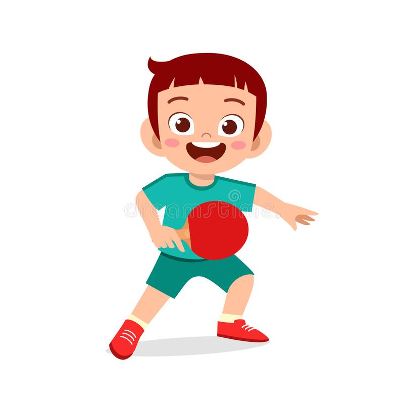 Happy cute kid boy play train pingpong. Children, girl, fun, kinder, kindergarten, character, people, young, active, healthy, playing, activity, sport, game stock illustration