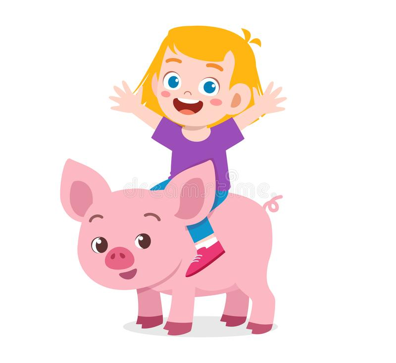 Happy cute kid boy riding cute pig. Vector, illustration, cartoon, background, clipart, comic, white, isolated, doodle, kawaii, children, girl, fun, kinder royalty free stock photo