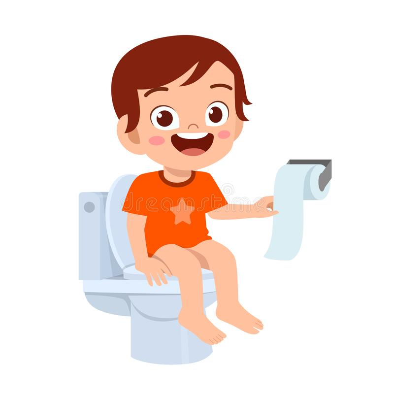 Free Happy Cute Kid Boy Sit On The Toilet Stock Image - 166126641