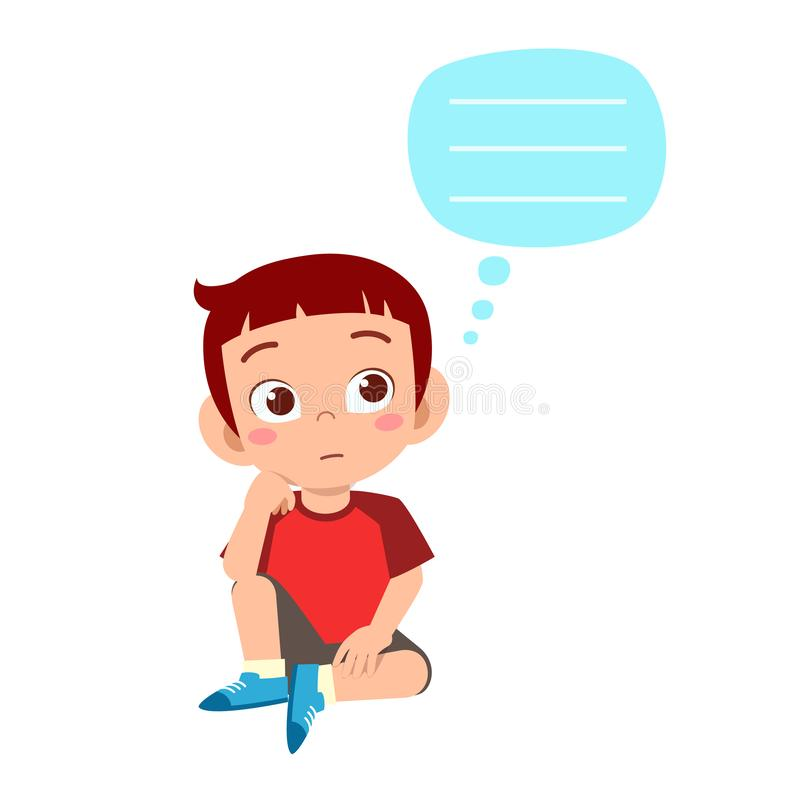 happy cute kid boy think about problem stock illustration