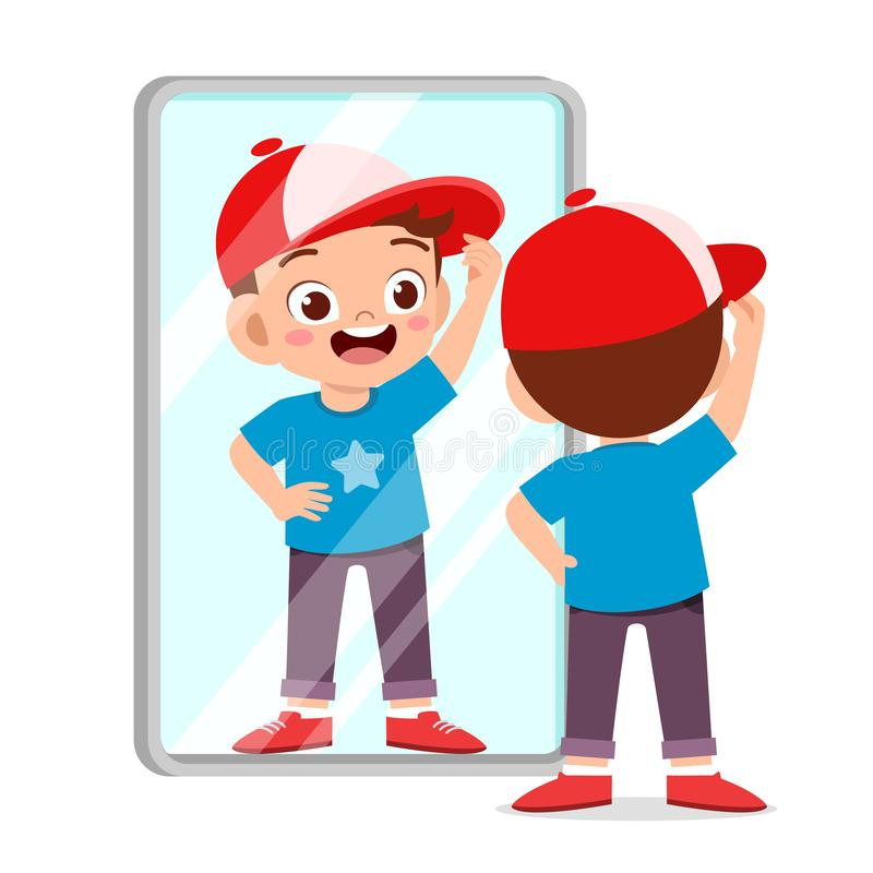 Happy cute kid boy use mirror in morning. Background, care, cartoon, character, child, children, clipart, cloth, comb, comic, dress, dressed, face, fashion vector illustration