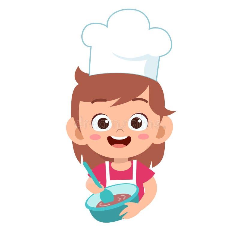 Happy cute kid chef cook in kitchen. Girls, kindergarten, dancing, kids, graphic, friendship, school, children, uniform, job, waiter, education, party royalty free illustration