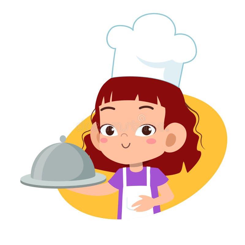 Happy cute kid chef cook in kitchen. Boys, girls, kindergarten, dancing, kids, graphic, friendship, school, children, uniform, job, waiter, education, party vector illustration