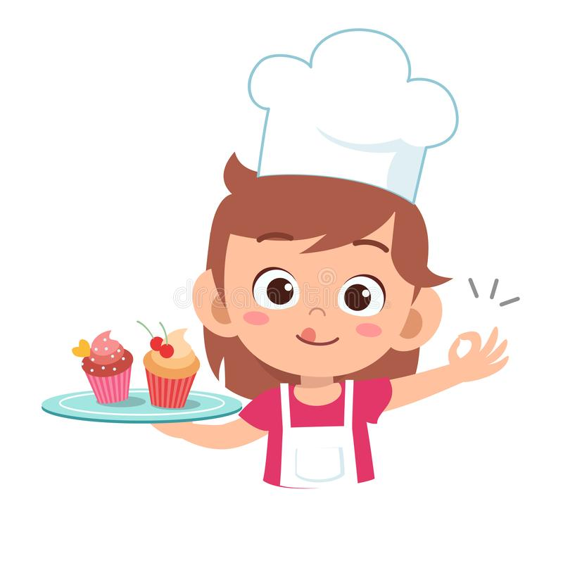 Happy cute kid chef cook in kitchen. Girls, kindergarten, dancing, kids, graphic, friendship, school, children, uniform, job, waiter, education, party stock illustration