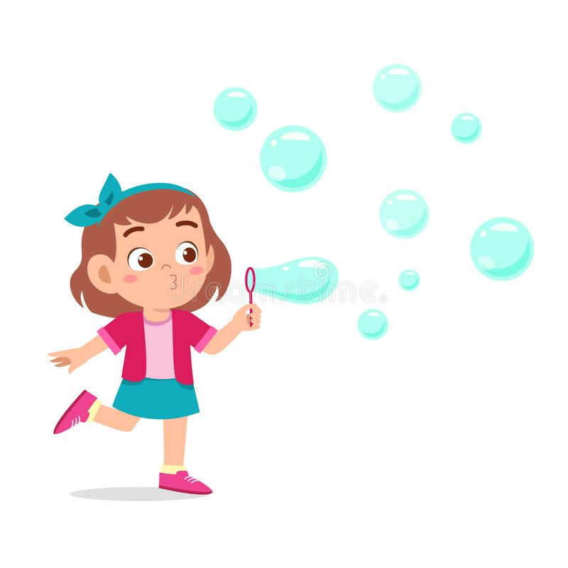 Free Happy Cute Kid Girl Blow Bubble Soap Royalty Free Stock Photography - 160958007