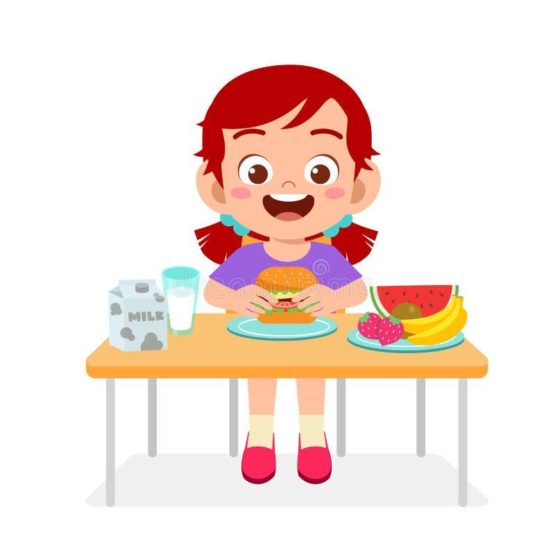 Happy Cute Kid Girl Eat Healthy Food Stock Vector Illustration Of Delicious Healthy 166126023