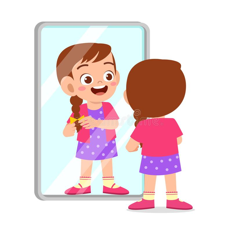 Happy cute kid girl use mirror in morning. Background, boy, care, cartoon, character, child, children, clipart, cloth, comb, comic, dress, dressed, face vector illustration