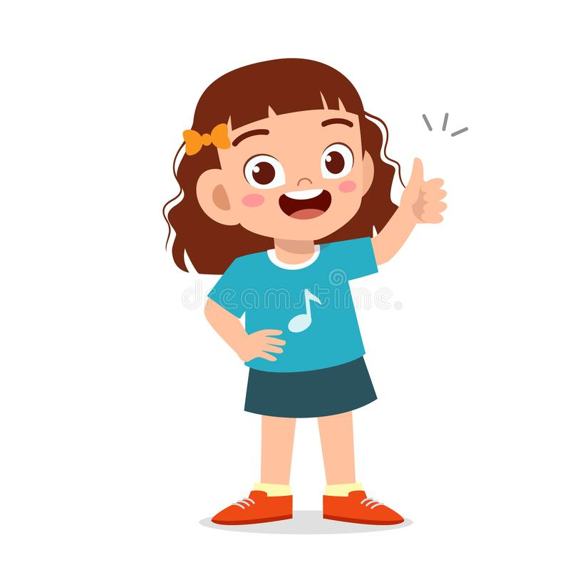 Free Happy Cute Kid Girl With Thumb Up Sign Stock Image - 164706291