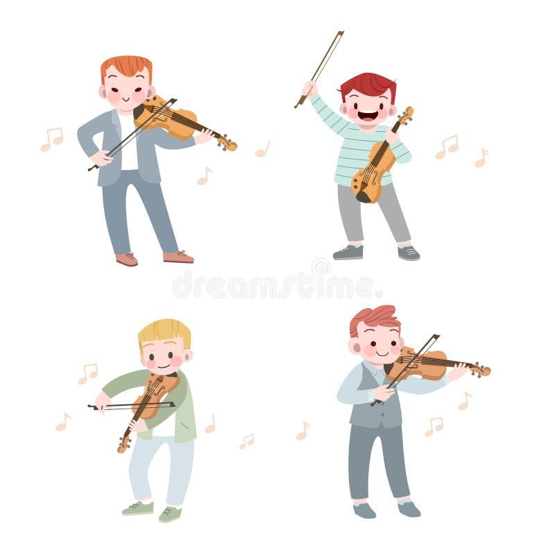 Happy cute kid play music violin vector illustration set. Cute kids happy vector illustration, talent, art, imagination, activities, education, graphic, creative royalty free illustration