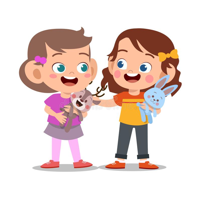Free Happy Cute Kid Play With Friend Together Royalty Free Stock Images - 158435479