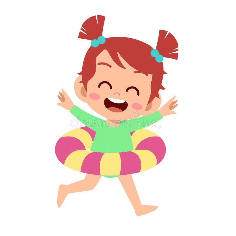 Free Happy Cute Kid With Swim Ring Vector Stock Photography - 158435022