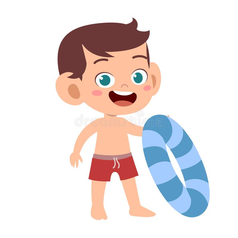 Free Happy Cute Kid With Swim Ring Vector Stock Photos - 158435113