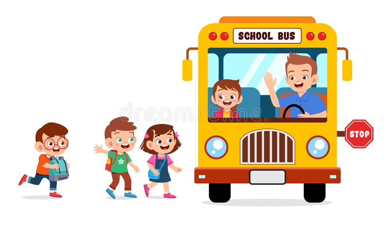 Happy Cute Kids Go To School By Bus Stock Vector - Illustration of cute,  primary: 160886008