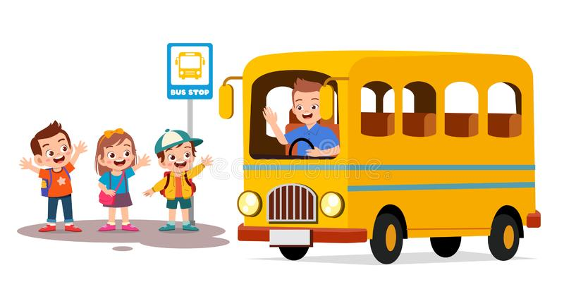 Happy cute kids wait school bus with friends. Arrive, back, to, background, book, boy, cartoon, character, child, children, class, clipart, comic, depart royalty free illustration