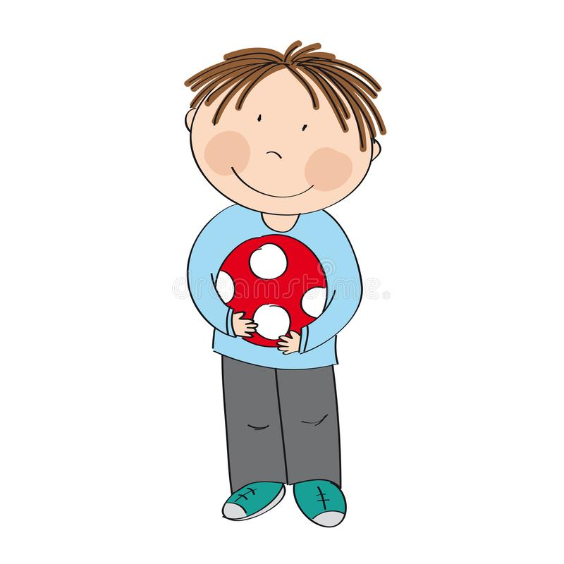 Happy cute little boy with ball - original hand drawn illustration stock illustration