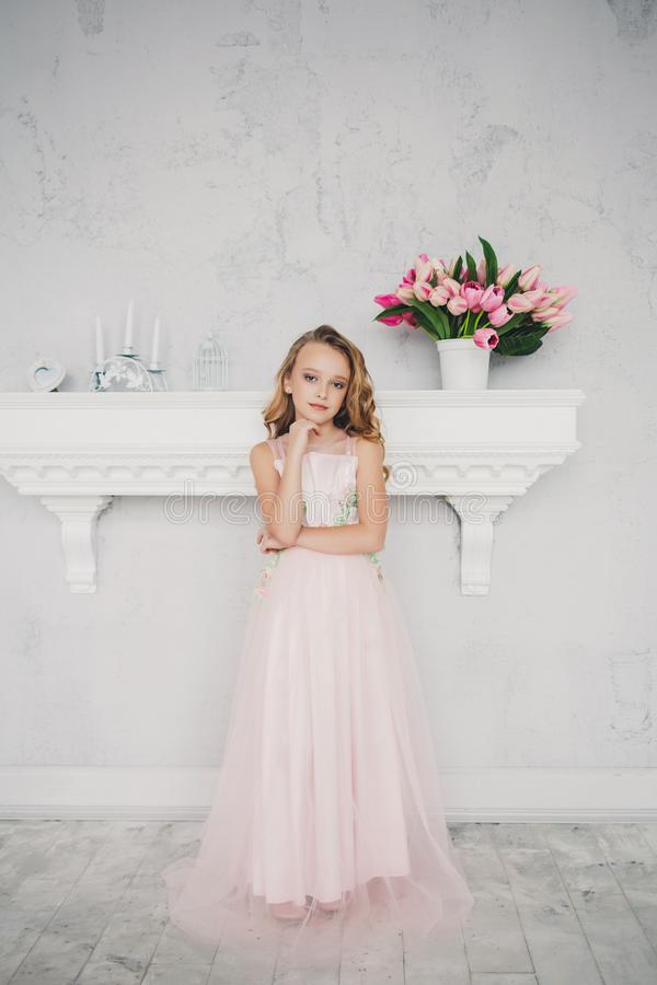 Cute little girl in dress royalty free stock images