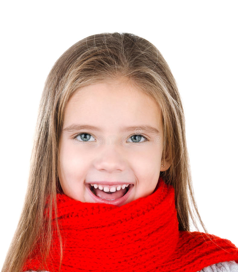 Happy cute little girl in red scarf stock image