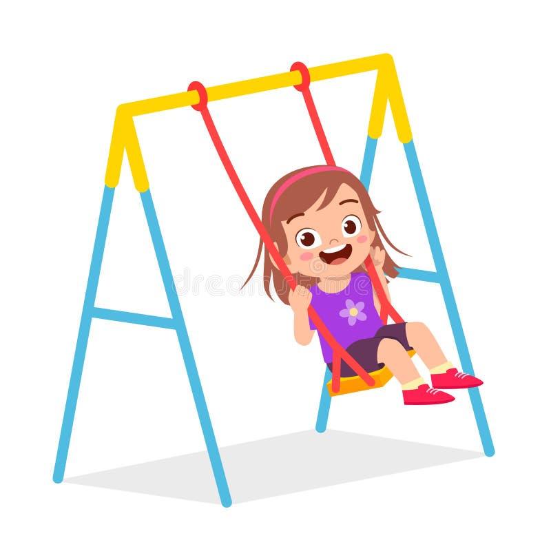Free Happy Cute Little Kid Girl Play Swing Royalty Free Stock Photo - 177080305