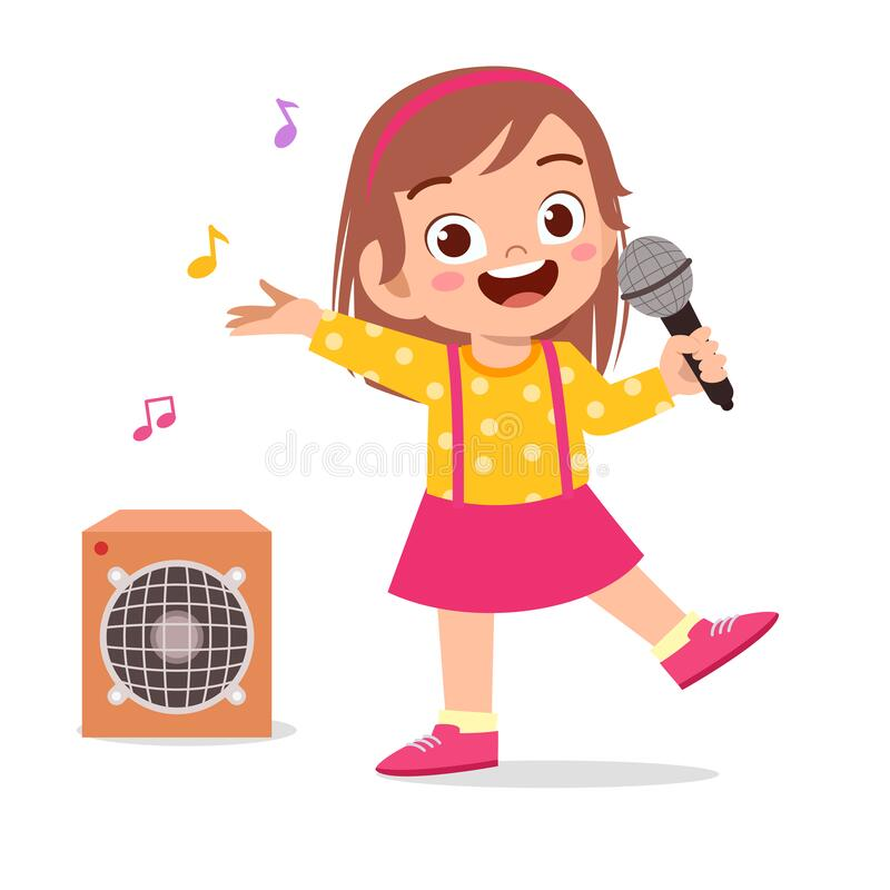 Free Happy Cute Little Kid Girl Sing A Song Royalty Free Stock Photos - 177077218