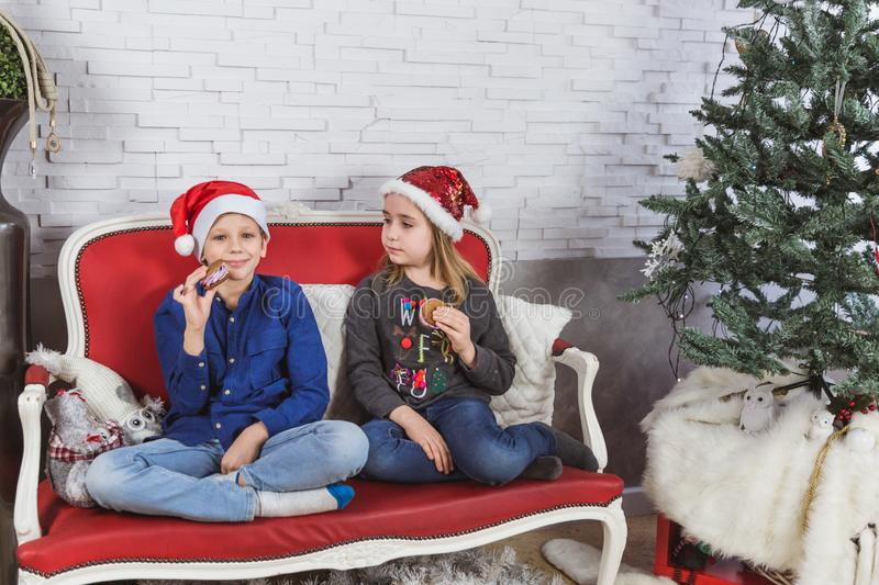 Happy cute little kids in Santa hats eating delicious cookies at home royalty free stock images