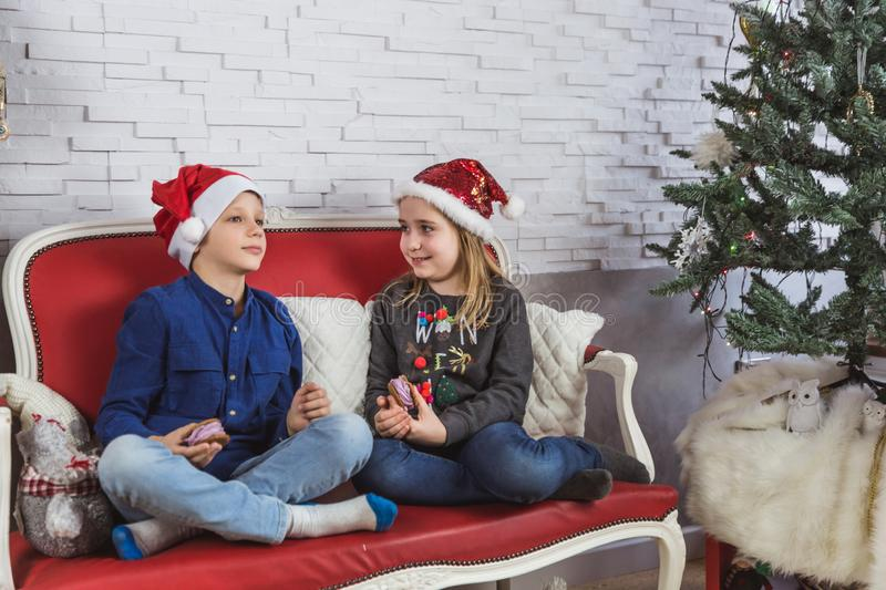 Happy cute little kids in Santa hats eating delicious cookies at home stock photo