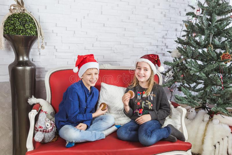 Happy cute little kids in Santa hats eating delicious cookies at home stock photography