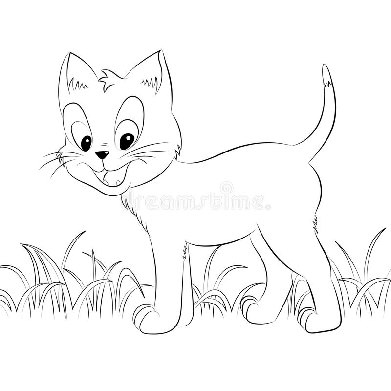 Happy Cute Outline Kitten. Simple Cartoon Style. Page For Art ...