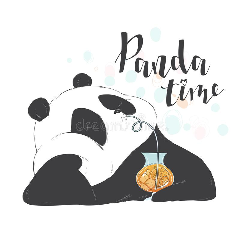 Happy cute pandas drinks through a straw fruit pink cocktail in a glass to take. Vector illustration flat hand drawn line art styl. Happy cute panda bear drinks vector illustration