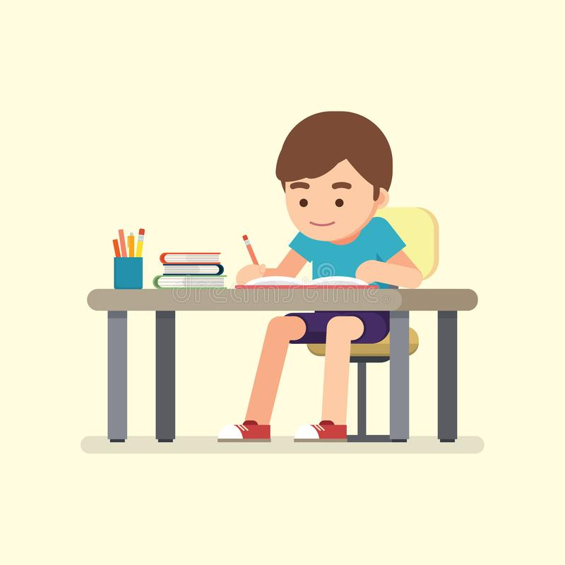 Happy cute school boy writing for homework, Study concept, Vector illustration.  royalty free illustration