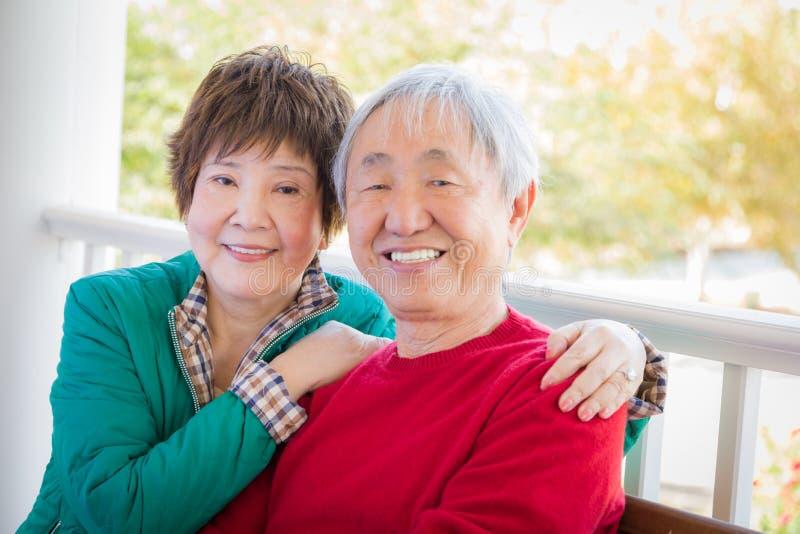 Happy Senior Adult Chinese Couple Portrait. Happy Cute Senior Adult Chinese Couple Portrait royalty free stock image