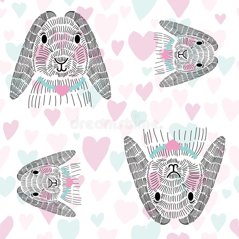 Happy cute sketched bunny rabbit pattern vector illustration