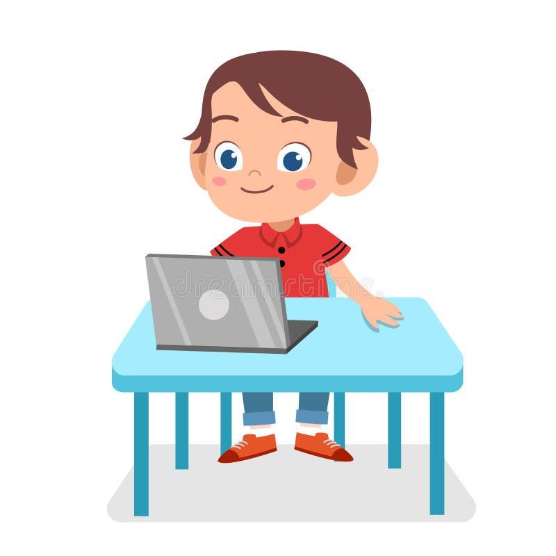 happy cute smart kid play laptop internet vector illustration
