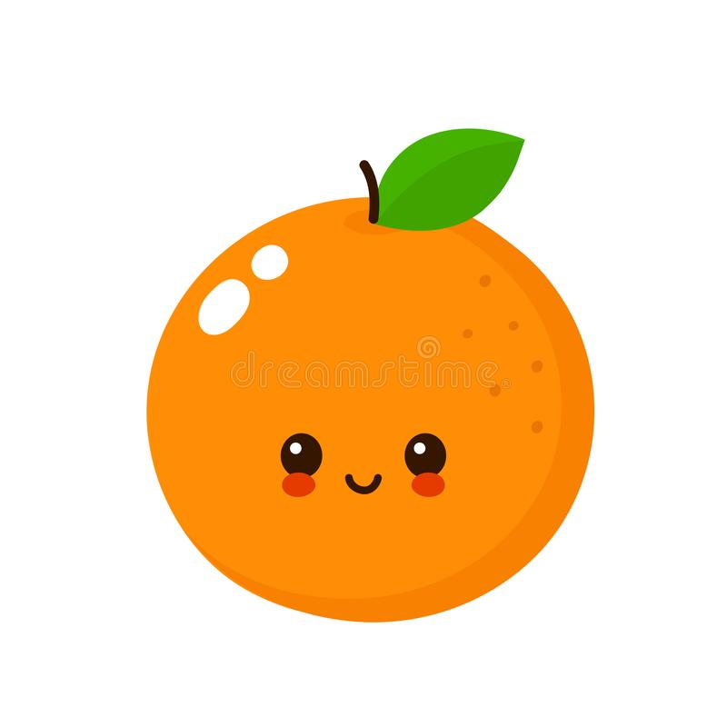 Happy cute smiling orange. Vector. Flat cartoon character illustration icon.Isolated on white background. Cute orange character concept stock illustration