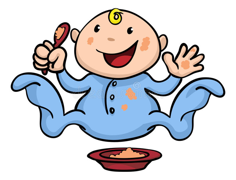 Happy cute weaning baby playing with food. Clipart illustration of a happy cute baby weaning playing and eating his or her food vector illustration