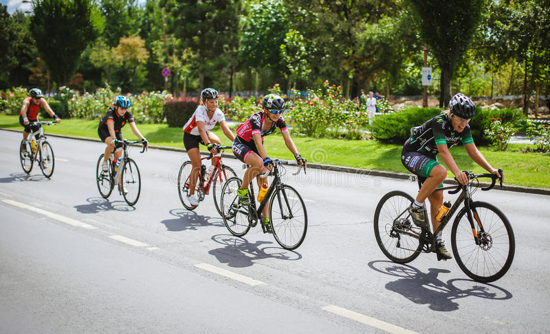 Happy cyclists competing. In RGT Road Grand Tour Champions Race, Bucharest, Romania royalty free stock images