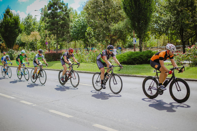 Happy cyclists competing. In RGT Road Grand Tour Champions Race, Bucharest, Romania stock images